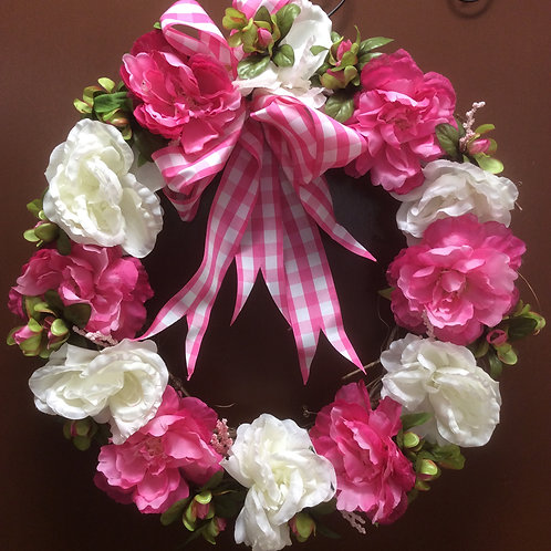 Pink and WHite Peony Wreath