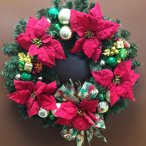 Christmas Poinsetita Wreath