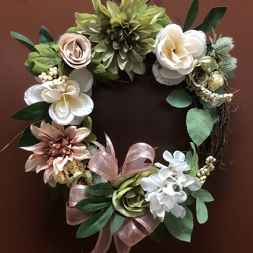 Rose, Sage, and Beige Wreath