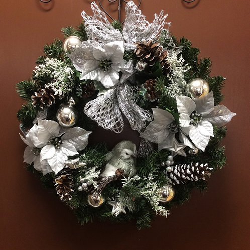 Silver Poinsettia and Bird Wreath