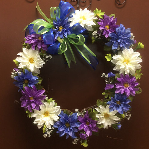 Blue, Purple, and White Wreath