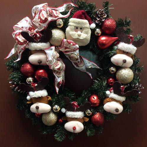 Santa and Reindeer Wreath