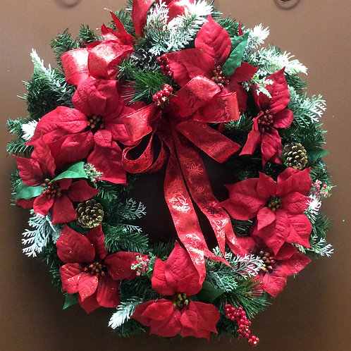 Traditional Poinsettia Wreath