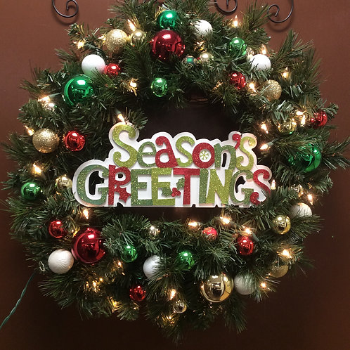 Seasons Greetings Light Up Wreath