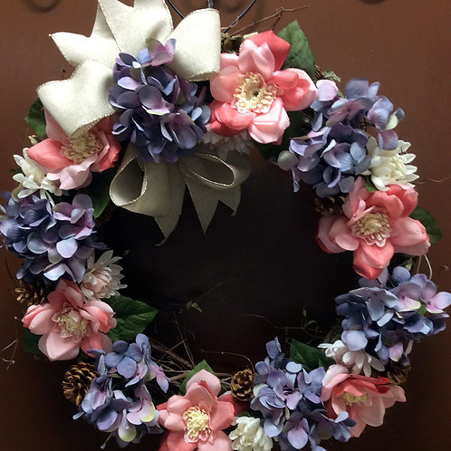 Lavender, Pink, and White Wreath