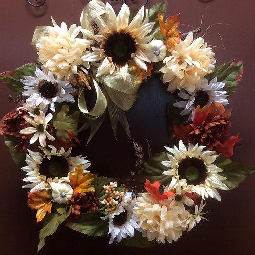 Cream Sunflower Wreath