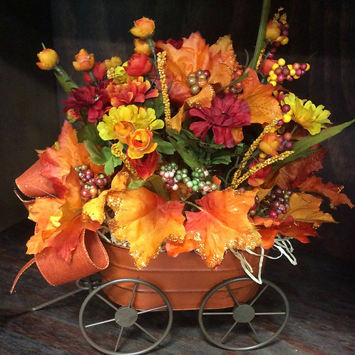 Fall Wheel Barrel Centerpiece