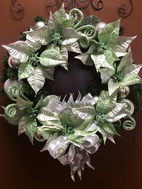 Seafoam and White Poinsettia Wreath