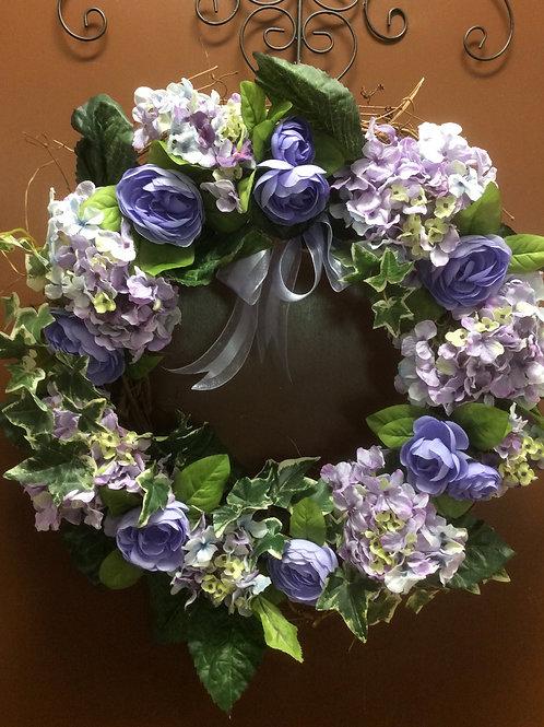 Violet Hydrangea Wreath