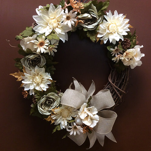 Beige and Sage Wreath