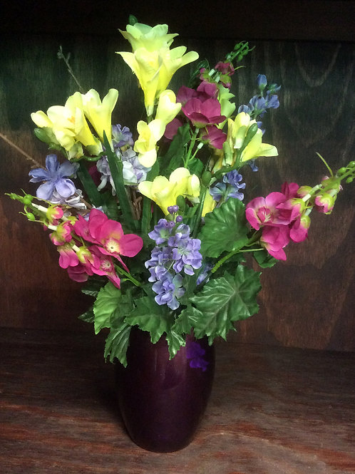 Spring Flower Centerpiece with Purple Vase