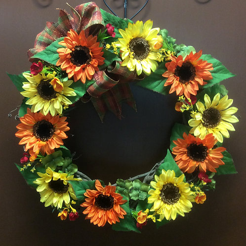 Yellow and Orange Sunflower Wreath