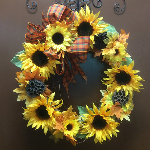 Sunflower and Lotus Pod Wreath