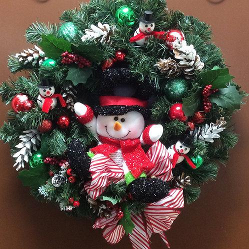 Happy Snowman Wreath