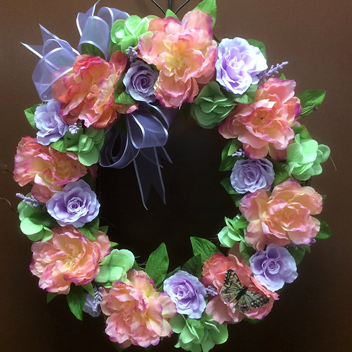 Rose and Peony Wreath