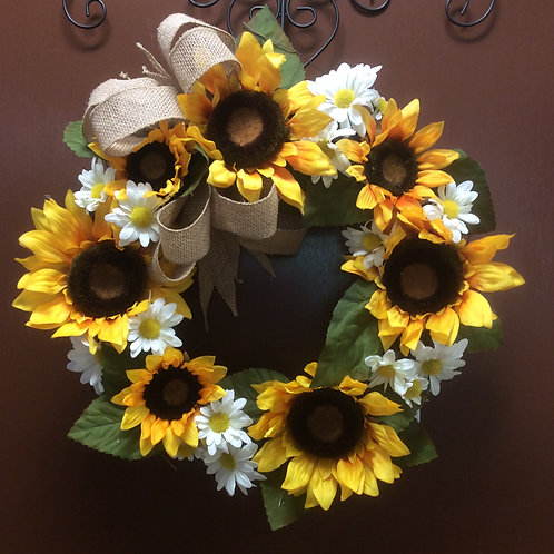 Sunflower and Daisy Wreath