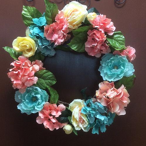 Hydrangea, Rose, and Peony Wreath