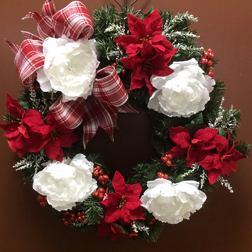 Poinsettia &Peony Wreath
