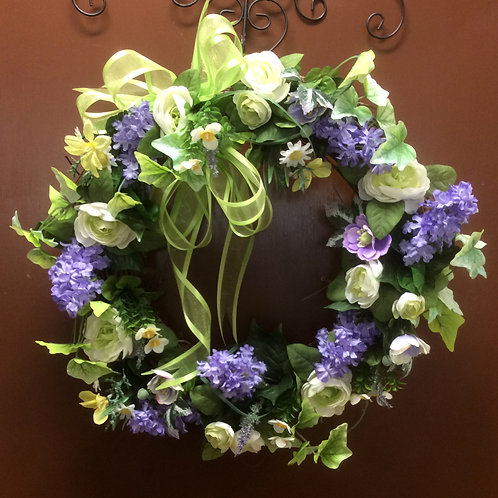 Lavende, Green, and White Wreath