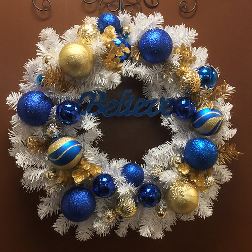 Blue, White, and Gold Beleve Wreath