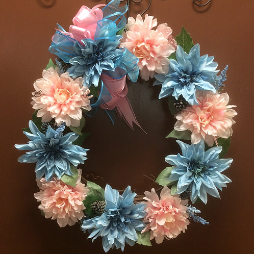 Blue and Pink Mums Wreath