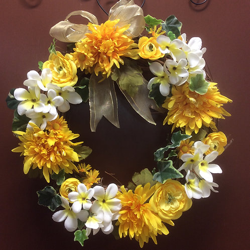 Yellow and White Mum Wreath