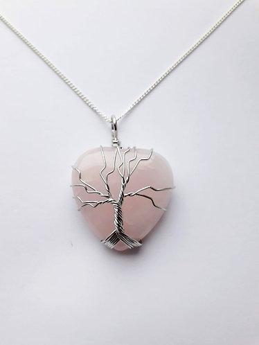 Rose Quartz Tree of Life Heart Pendant Necklace