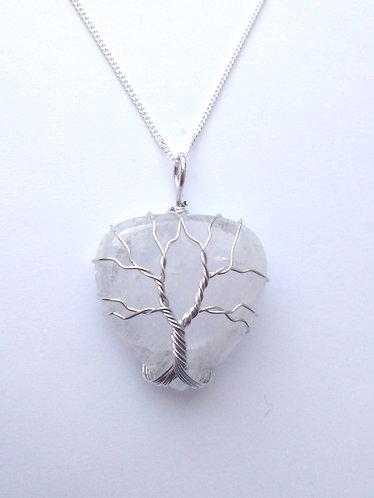 Clear Quartz Tree of Life Heart Pendant Necklace