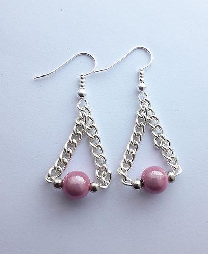 Pink Miracle Bead Chain Earrings