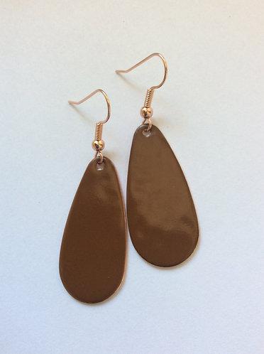 Brown Oval Drop Earrings