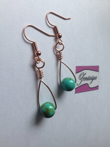 Turquoise Bead Swing Earrings