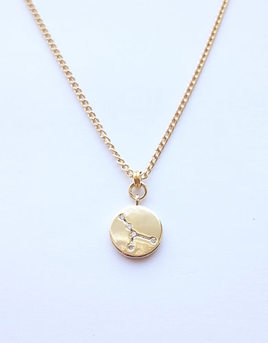 Gold Cancer Charm Necklace