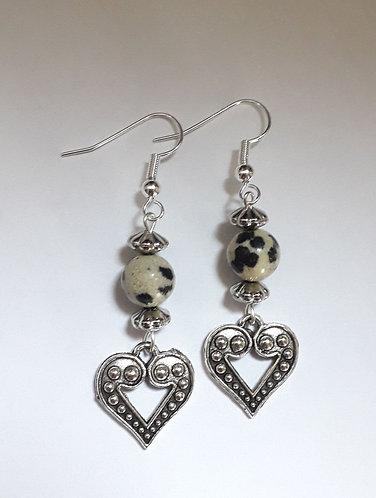 Dalmatian Heart Bead Earrings