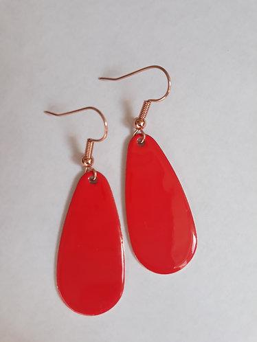 Red Oval Drop Earrings