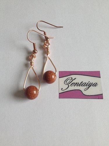 Goldstone Bead Swing Earrings