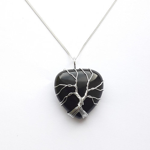 Black Agate Tree of Life Pendant Necklace