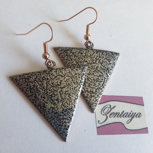 Black and Silver Reverse Triangle Earrings