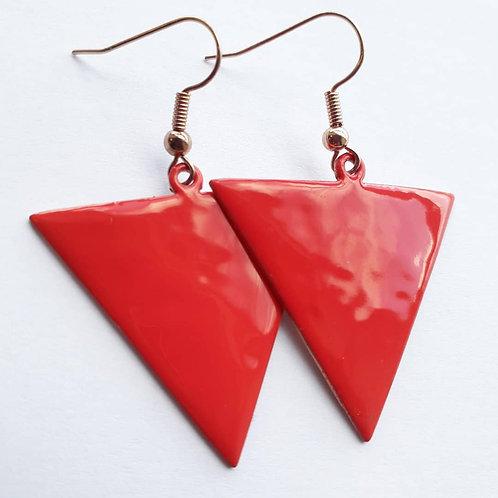 Red Reverse Triangle Earrings