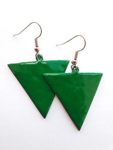 Green Reverse Triangle Earrings