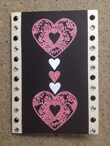 Glitter Heart Design Greetings Card