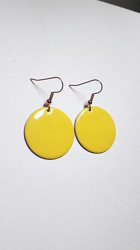 Yellow Round  Drop Earrings