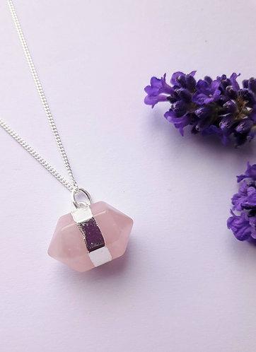 Rose Quartz Long Hexagon Pendant Necklace