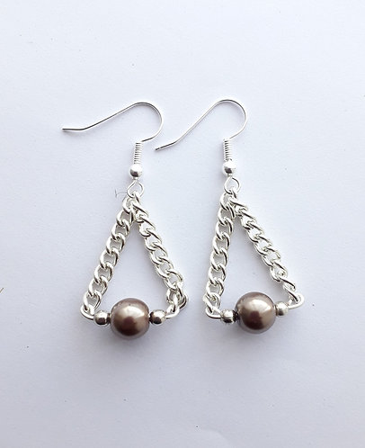 Brown Pearl Chain Earrings