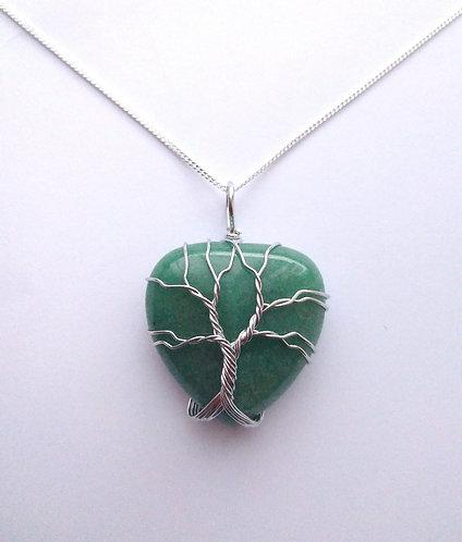 Aventurine Tree of Life Heart Pendant Necklace