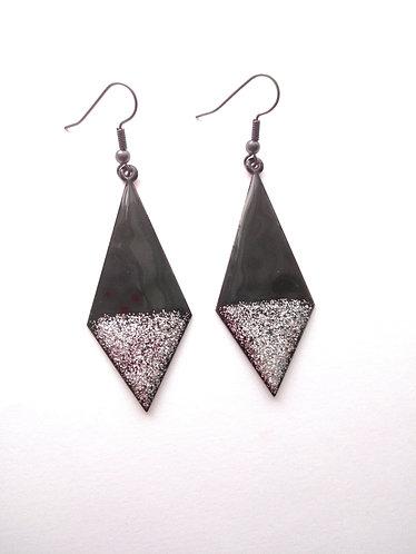 Black and Silver Glitter Kite Earrings