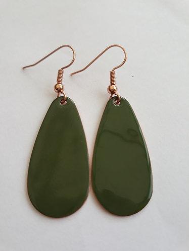 Olive Green Oval Drop Earrings