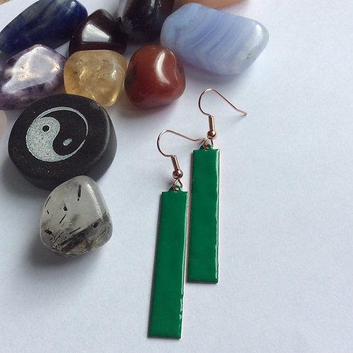 Green Strip Earrings