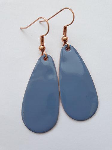 Blue Oval Drop Earrings