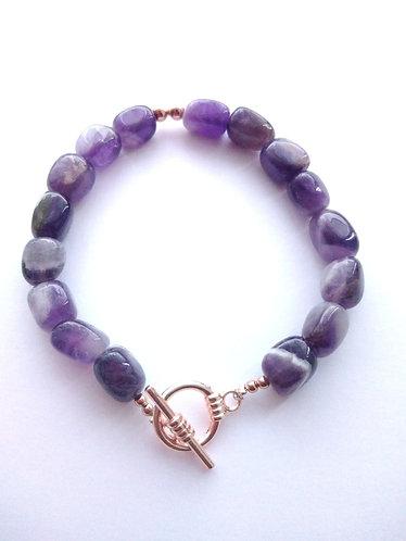 Amethyst Nugget Bead Bracelet