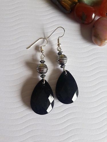 Black Teardrop Bead Earrings